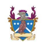 Desenho de Owl Perching Knight Helmet Crest Imagens de Stock