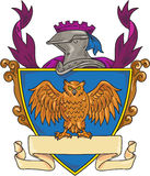 Desenho de Owl Wings Spread Knight Helmet Fotos de Stock Royalty Free