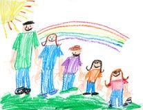 Desenho de pastel primitivo dos miúdos de uma família Fotos de Stock Royalty Free