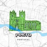 Desenho de Porto Portugal no mapa ilustração royalty free