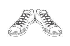 Desenho de sapatas dos esportes calçados fáceis da juventude ilustração do vetor