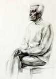 Desenho de um homem superior ilustração stock