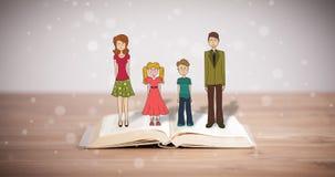 Desenho de uma família feliz no livro aberto Imagens de Stock