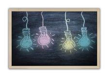 Desenho de uma ideia do bulbo na placa preta Foto de Stock Royalty Free