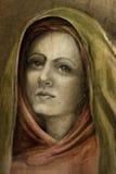 Desenho de uma jovem mulher no hijab Fotos de Stock Royalty Free