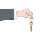 Desenho de uma mão que guarda a chave Imagem de Stock Royalty Free