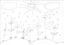 Desenho de uma menina do refugiado Fotos de Stock