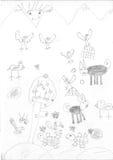 Desenho de uma menina do refugiado Imagem de Stock Royalty Free