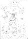 Desenho de uma menina do refugiado Foto de Stock