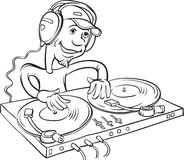 Desenho de Whiteboard - DJ que joga em uma plataforma giratória dobro ilustração stock