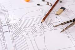Desenho detalhado das peças, porcas imagem de stock