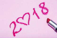 Desenho do batom do ano novo no fundo cor-de-rosa Imagens de Stock Royalty Free