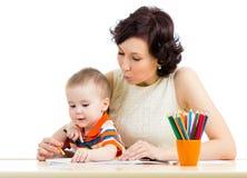 Lápis do bebé e da mãe Imagem de Stock Royalty Free