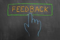 Desenho do botão e da mão do feedback no quadro ou no quadro-negro imagem de stock