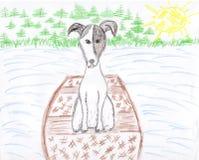 Desenho do cão do terrior de Jack russell em férias Imagens de Stock