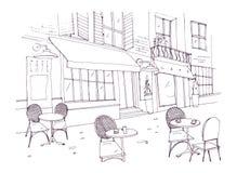 Desenho do café ou do restaurante do passeio com tabelas e cadeiras que estão na rua da cidade ao lado da construção antiga com ilustração royalty free