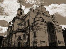 Desenho do carvão vegetal e de giz da catedral ortodoxo fotografia de stock