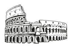 Desenho do coliseu, ilustração de Colosseum em Roma, Itália Imagens de Stock Royalty Free