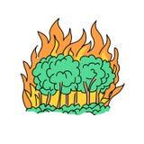 Desenho do conceito da catástrofe natural do incêndio florestal Imagens de Stock Royalty Free