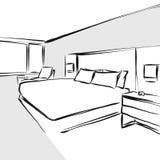 Desenho do conceito de design de interiores do quarto ilustração stock