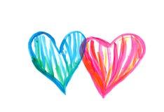 Desenho do corações Fotos de Stock