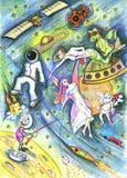 Desenho do cosmos. Mundo de fantasia. Mundo da fantasia ilustração royalty free