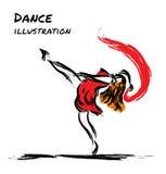 Desenho do dançarino da expressão com escova Imagens de Stock Royalty Free