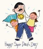 Desenho do dia de pai com crianças e o paizinho super, ilustração do vetor ilustração do vetor