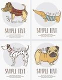 desenho do Esboço-estilo do grupo de cartões dos cães Fotografia de Stock