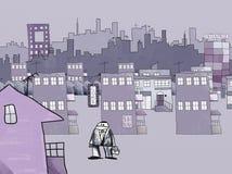 Desenho do estilo do Naif de uma cidade Imagens de Stock