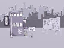 Desenho do estilo do Naif de uma cidade Fotografia de Stock Royalty Free