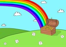Desenho do estilo dos desenhos animados do arco-íris e da arca do tesouro Imagem de Stock