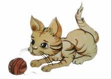 Desenho do gato com uma bola da linha Fotos de Stock