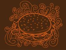 Desenho do hamburguer Fotografia de Stock