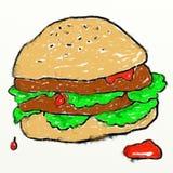Desenho do hamburguer de Childs ilustração do vetor
