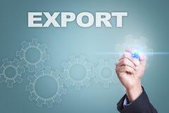 Desenho do homem de negócios na tela virtual Conceito da exportação Fotos de Stock Royalty Free