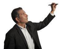 Desenho do homem de negócios no wihteboard Fotos de Stock Royalty Free