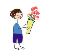 Desenho do homem novo que prepara-se para dar rosas ramalhete ilustração stock