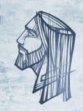 Desenho do lápis e de carvão vegetal de Jesus Christ Face fotografia de stock royalty free