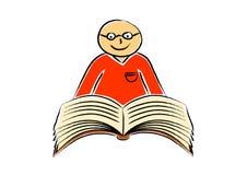 Desenho do livro e do menino Fotografia de Stock