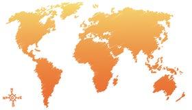 Desenho do mapa de mundo, esboço do lápis Fotografia de Stock
