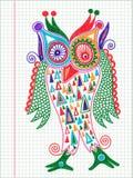 Desenho do marcador da coruja da garatuja Imagens de Stock
