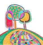 Desenho do marcador da garatuja da árvore Imagens de Stock Royalty Free