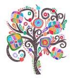 Desenho do marcador da garatuja da árvore ornamentado Fotos de Stock
