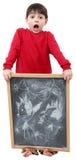 Desenho do menino de escola no quadro Imagens de Stock