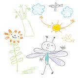 Desenho do miúdo Foto de Stock
