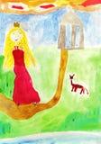 Desenho do miúdo do conto de fadas Fotos de Stock Royalty Free