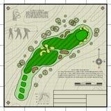 Desenho do modelo da disposição do campo de golfe ilustração royalty free