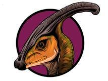 Desenho do parasaurolophus da rotulação do cartaz do dinossauro com cor ilustração do vetor