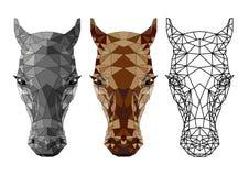 Desenho do polígono de uma cabeça do ` s do cavalo foto de stock royalty free